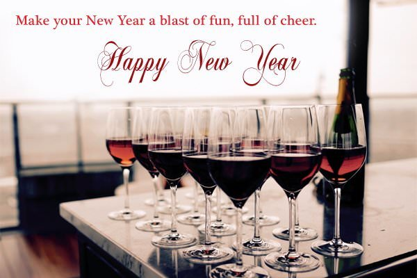 New Year 2021 Wishes with Red Wine Glass